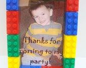 LEGO Inspired 3x5 picture frame birthday party favor set of (15) Free-Standing - primary colors, personalization included