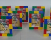 LEGO inspired kids birthday party favor 3x5 Free-Standing picture frame set of (30) - treat bags and teacher gifts, free personalization