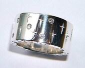 Chunky 925 Silver Ring Handmade Five Diamond Band with Cross Design