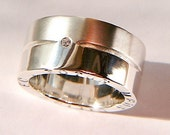 925 Chunky sterling Silver Diamond Ring Silver grooved Rings and wedding rings