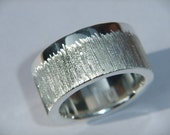 Handmade 925 Sterling Silver Chunky Ring with Sparkly Etch Design Personalised Band
