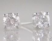 Diamond Earrings 0.50ct  Brilliant  Round Cut  F Colour VS2 Clarity 18k White Gold Ladies Studs