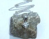 Diamond  Necklace 0.40ct Brilliant Round Cut Diamond and 18k White Gold Chain F Colour VS Clarity