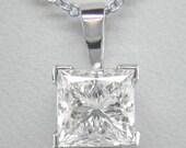Diamond Pendant Necklace 0.30ct Princess cut F Colour VS2 Clarity Diamond and 18k Gold Chain