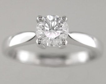Engagement Ring Diamond Brilliant Round Cut 0.50ct F Colour SI1 Clarity18k  White Gold