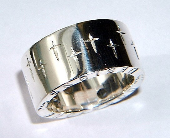 handmade chunky sterling silver ring with cross design and