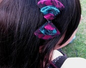 Punk rock hot pink black and blue lace headband or clip bow
