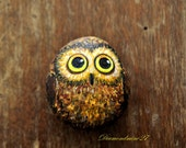 Charming little owl. Rock painting.  Acrylic. Sea Stone. Hand Painted Stone. Paperweight. OOAK. Deco. Art. Bird. Bird painting.