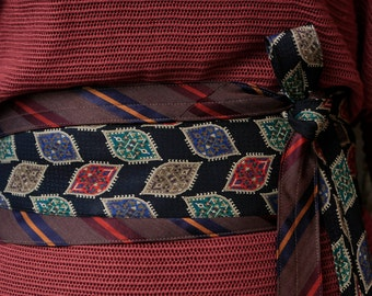 Persia - Recycled Silk Tie Obi Belt - grey blue green red