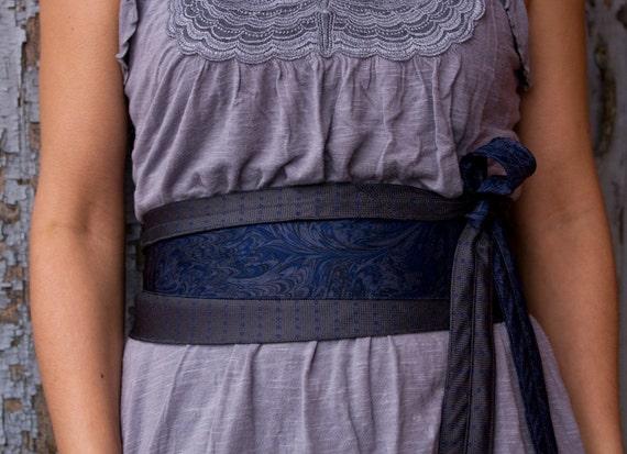 Blue Ink - Recycled Silk Tie Obi Corset Belt Grey Wrap