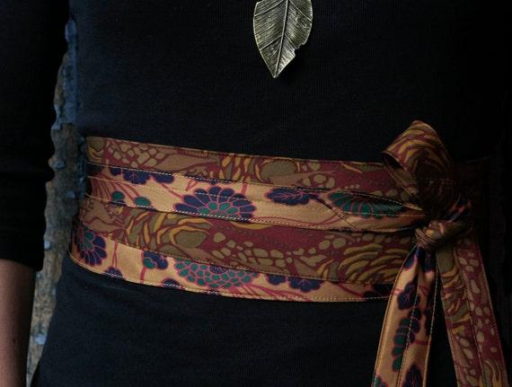 Autumn Flowers - Obi Wrap Corset Belt Upcycled Silk Ties