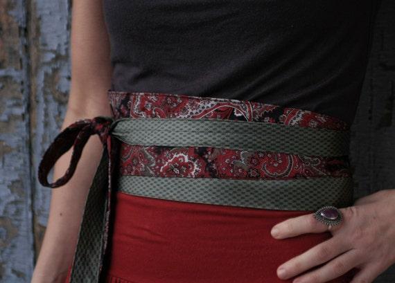 Red & Grey Romance - Obi Corset Belt Upcycled Silk Ties