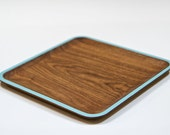 Large Wud Plate - walnut with light blue rim