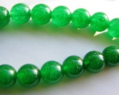 8 Pc. Emerald Green Jade Smooth Round Beads, Christmas Green - approx. 10mm