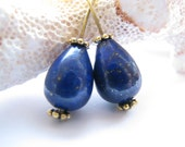 LAST Pair - Genuine Lapis Lazuli Fabulous Large Smooth Plump Teardrop Focal Briolettes - 2 Beads, approx. 14 x 9mm