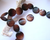 """4 Beads - Iridescent Coffee Brown MOP, Mother of Pearl Smooth Round Coins - approx. 1"""", 25mm diameter"""