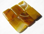 """1 Large Natural Yellow Banded Agate Gemstone, Smooth Rectangle Focal Bead - approx. over 1 1/4"""" L, 7/8"""" W, (34x23mm)"""