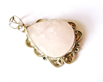 "GIFT For MOM, Pink Rose Quartz Teardrop Gemstone Cab Pendant, Vintage Antique Silver Setting & Bail ~ 2 + 1/8"" L, 1 + 3/8"" W, Ready To Ship"