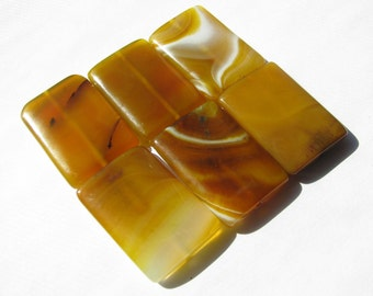 "1 Large Natural Yellow Banded Agate Gemstone, Smooth Rectangle Focal Bead - approx. over 1 1/4"" L, 7/8"" W, (34x23mm)"