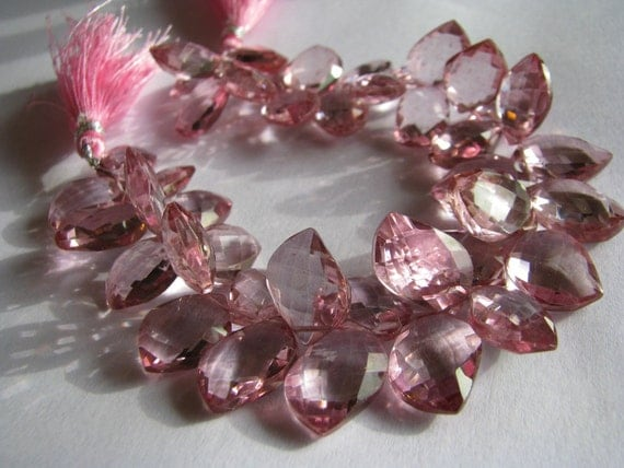 1 Pair - New Leaf Shape - AAA - AA Mystic Pink Quartz Large Faceted Leaf Briolettes - 2 beads - approx. 15mm Long