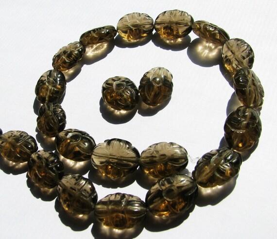 "6 Beads - Natural Golden Brown Smoky Quartz Gemstone, Carved Flower Ovals - approx. 5/8"" L, 1/2"" W, (16x12mm)"