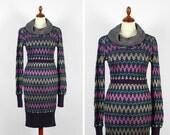 vintage purple knit dress / zig zag dress / metallic stripes
