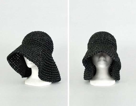 vintage floppy raffia hat / black woven summer hat / wide brimmed hat