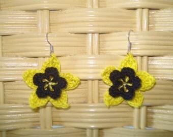 Black and yellow crocheted flower earrings