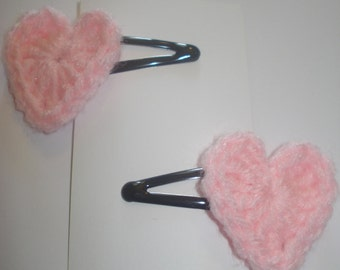 Set of 2 pink crocheted heart hair barrettes snap clips