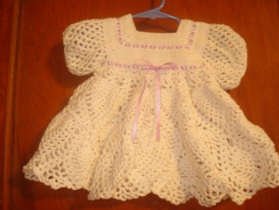 Lacy white crochet  baby dress with lavender ribbon  size 6-12  months