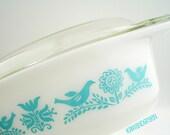 "Pyrex ""Bluebird"" Oval Milk Glass Promotional Casserole Dish with Cradle, 1959 - TREASURY ITEM"