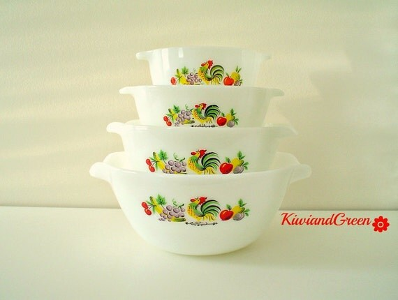 Fire King Country Kitchen / Chanticleer Mixing Bowl Set