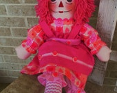 20 Inch Raggedy Ann Doll Handmade By Raggedy Jan With Pink Hair