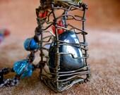 Caged Hematite Beaded Macrame Necklace