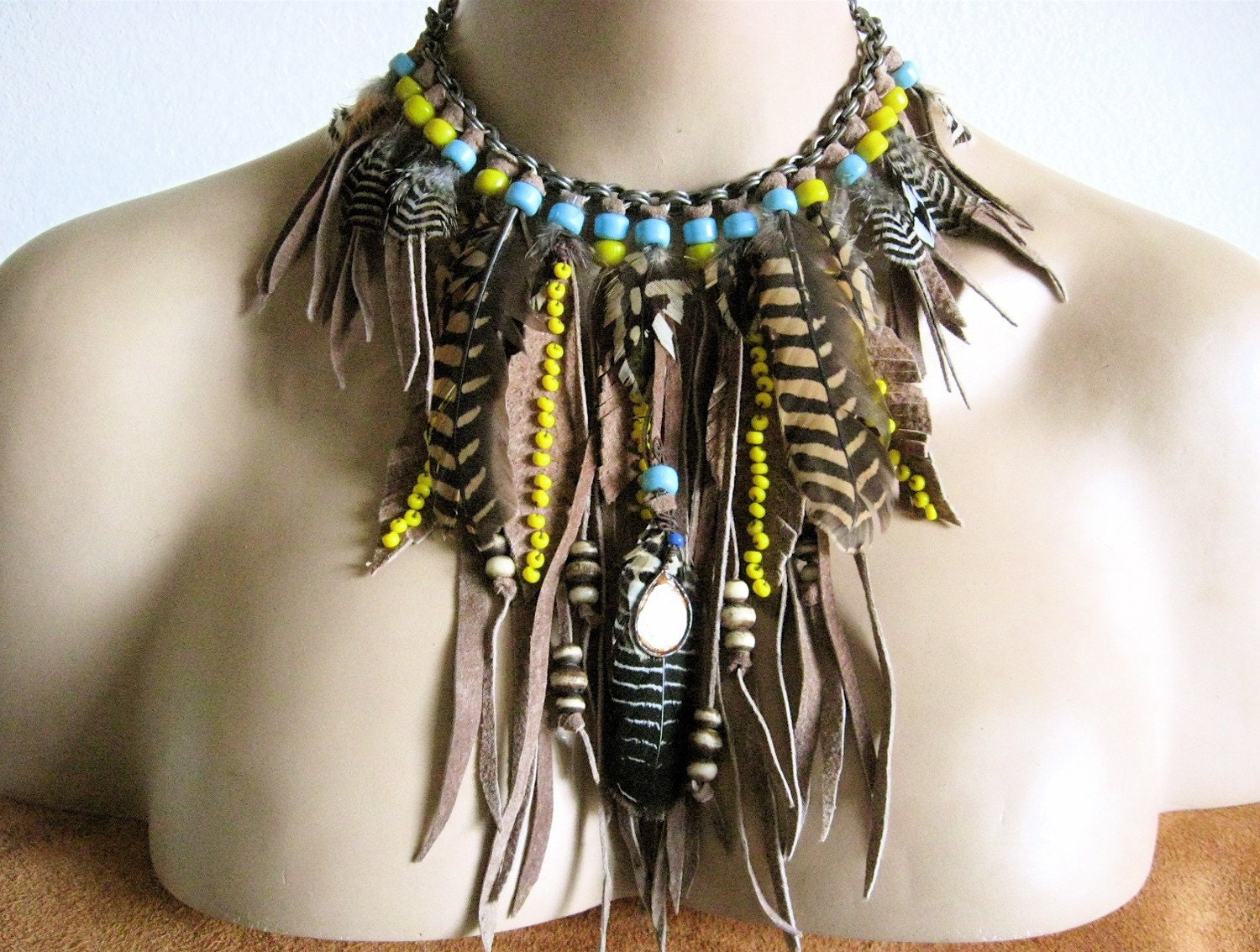 unisex native american tribal feather ornate necklace