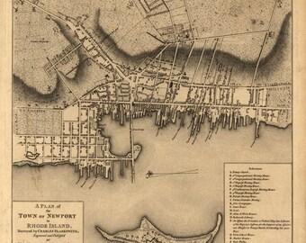 1777 Map of Newport, Rhode Island