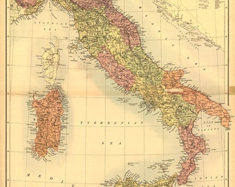 1890 Map of Italy