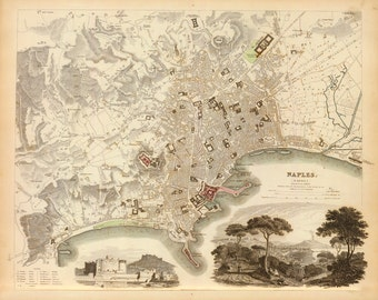 1835 Map of Naples, Italy