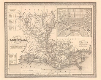 1848 Map of Louisiana