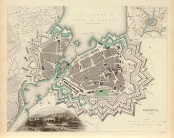1841 Map of Geneva, Switzerland