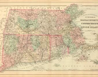 1886 Map of Massachusetts, Connecticut & Rhode Island