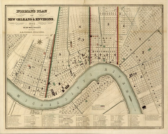 1845 Map of New Orleans