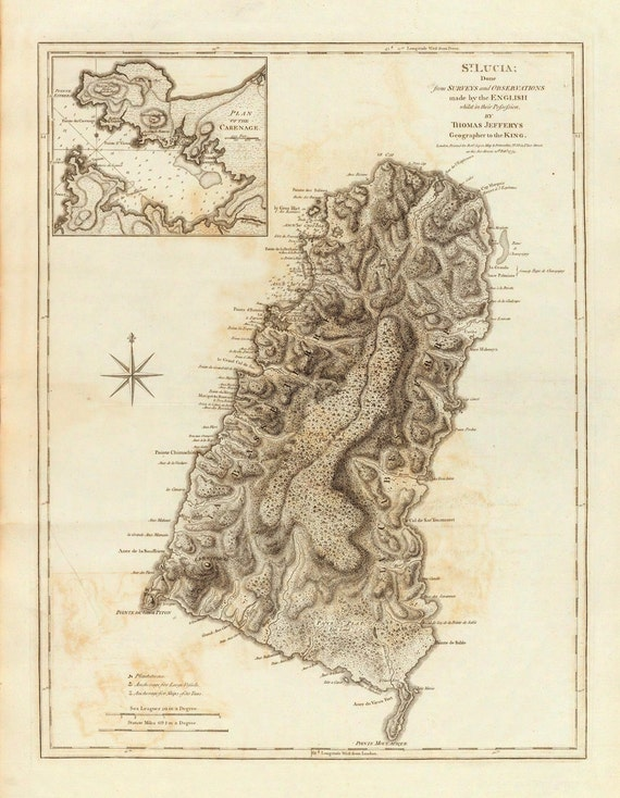 1775 Map of St. Lucia