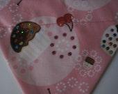 Over the Collar Dog Bandana, Cupcake, Pink, Swarovski Crystals Size small