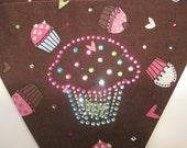 Over the Collar Dog Bandana  Cupcake  Pink  Brown Swarovski Crystals Size Medium