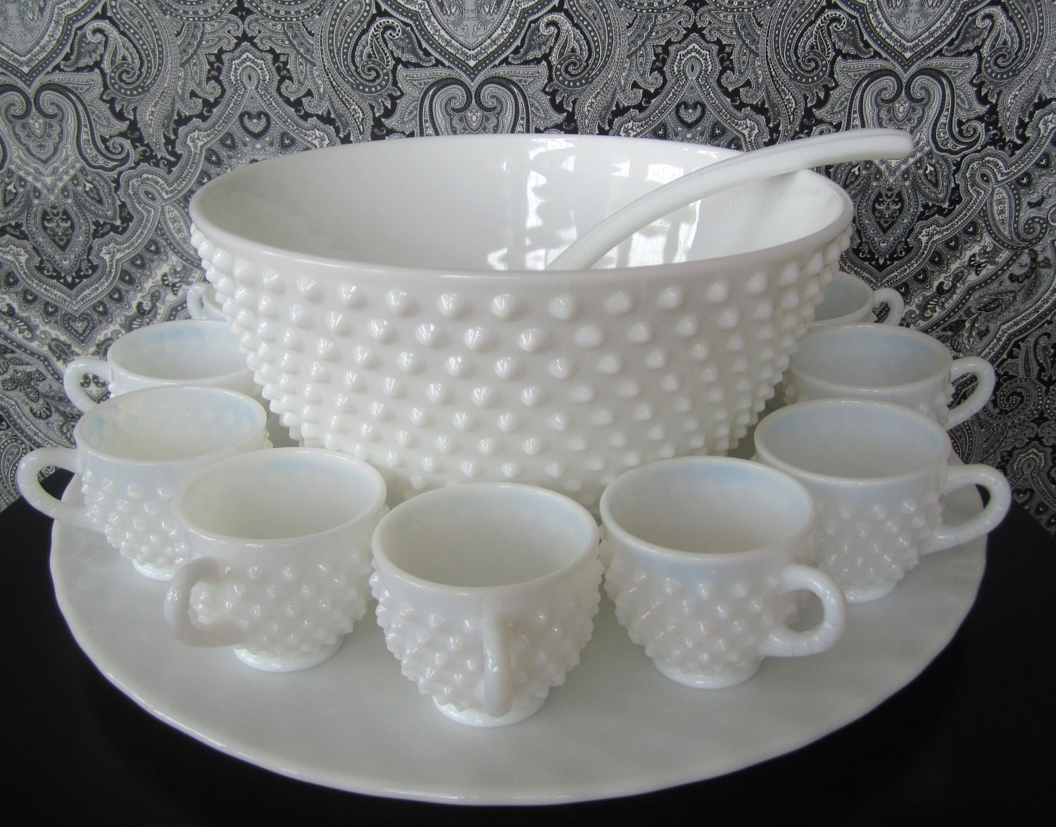 fenton hobnail milk glass punch bowl set vintage by junkingforjoy. Black Bedroom Furniture Sets. Home Design Ideas