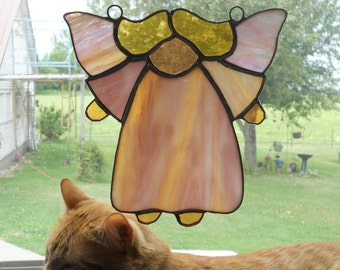 Pink Angel Stained Glass Suncatcher