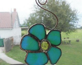 Stained Glass Aqua Flower
