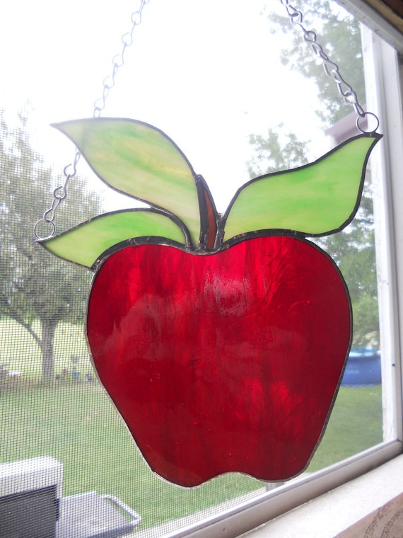 Red Delicious  Stained Glass Apple ornament / suncatcher