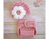 Soft Pink Diaper Cover and Flower Beanie with Wooden Button - Newborn